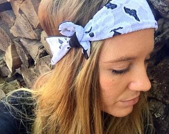 Black&White Wrap Headband, Womens' Headband, Reversible, Hair Accessory