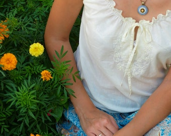 Embroidered Necklace. Sunflower pendant. Hand embroidery.Yellow Blue Jewelry.Sunflower Necklace.Boho jewelry. Sunshine necklace.Eco friendly