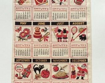 Vintage 1958 Calendar Towel Happy New Year All Year Round MINTY