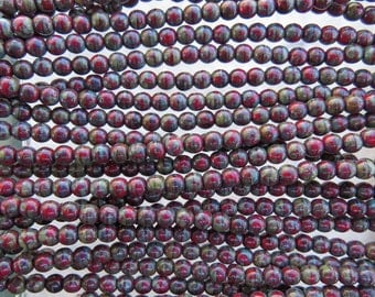 4mm Opaque Dark Red Picasso Czech Glass Round Beads - Qty 100 (BS314)