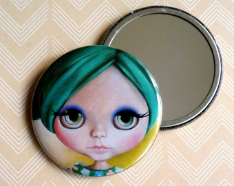 Pastel Goth Blythe Doll - Pocket Mirror green hair