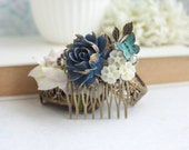 Dark Blue Navy Blue Butterfly Flower Hair Comb, Dusky Blue Cream Rose Leaf Hair Comb, Navy Blue Wedding Something Blue Wedding Bridal Comb