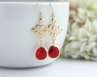 Gold Ruby Red Earrings Peacock Fan Earrings Moroccan Peacock Filigree, Red Wedding Bridesmaids Gifts Holiday Gifts Fuchsia Red, Winter Red