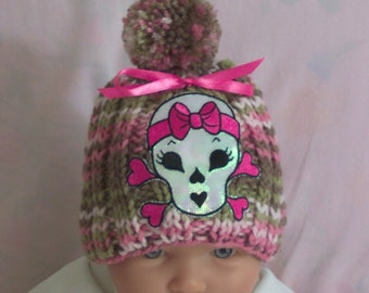 Handmade knit Punk Skull  baby hat Pink Camo Camouflage Baby Hat cap Beanie 0-12M Skull Glows in the light.  READY TO SHIP