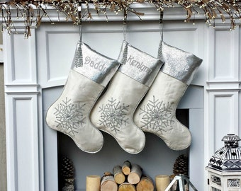 """Silver Off White Christmas Stockings -  20"""" with silver metallic snowflake and tassel beads Christmas stocking Embroidered Custom"""