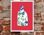 "Spices & Herbs Red - 11""x15"""" Kitchen Art print - archival fine art giclée print"