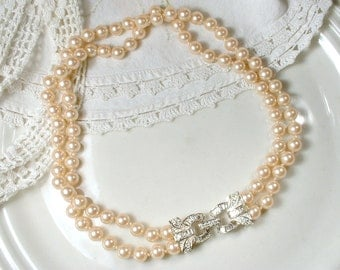 Art Deco Ivory Glass Pearl & Pave Rhinestone Bridal Necklace, 1950s Vintage 2 Strand Choker Ornate Clasp Pearl Necklace, 1920s Deco Glam