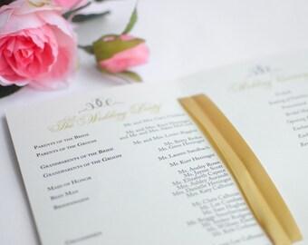 Welcome Wedding Programs, Wedding Program Booklet, Wedding Day Booklet, Welcome Bags, Gold Programs, Gold Wedding Day Program Sample