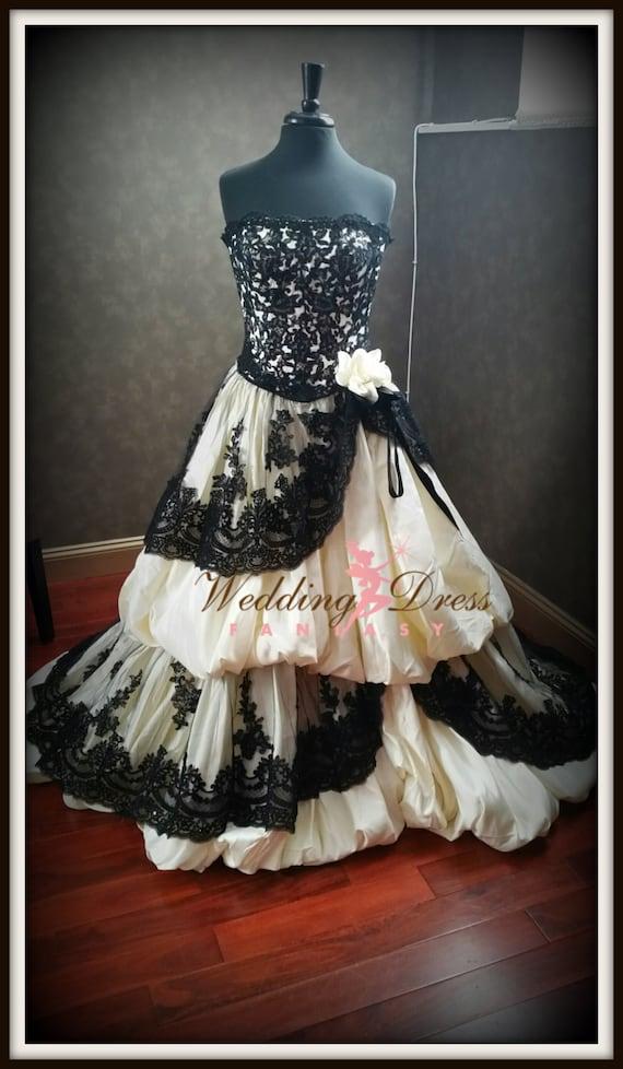 Black Wedding Dress Custom : Gothic wedding dress pale yellow and black french lace custom