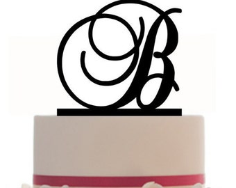 Custom Initial Cake Topper - Personalized Wedding Cake Topper - with choice of font, color and  FREE base for display