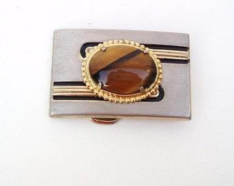 Vintage Belt Buckle | Tiger Eye Jewelry | Metal Belt Buckle | Unisex Silver Gold Jewelry