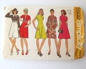 1970s Dress Sewing Pattern Simplicity 5500 Womens Princess Seams Inset Waist A Line Dress Pattern Gored Skirt Misses Size 14 Bust 36