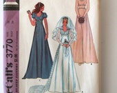 1970s Wedding & Bridesmaid Dress Pattern McCalls 3770 Womens Empire Waist Detachable Train Bridal Maxi Dress Pattern Size 12 Bust 34 UNCUT