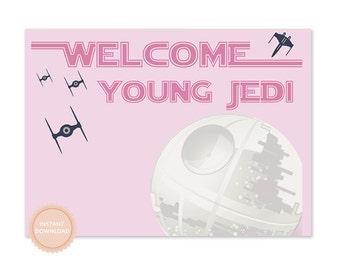 INSTANT DOWNLOAD Star Wars Party Sign (Princess Leia, Star Wars Birthday, Star Wars Banner, Death Star, Girls Star Wars, Darth Vader, Yoda)