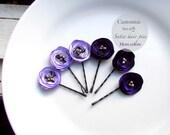 6 Piece Purple Wedding Hair Pins, Purple Hair Pin Bridal Hair Flower Bobby Pins, Tiny Silk Flower Hair Clip, Small Floral hairpin Bridesmaid