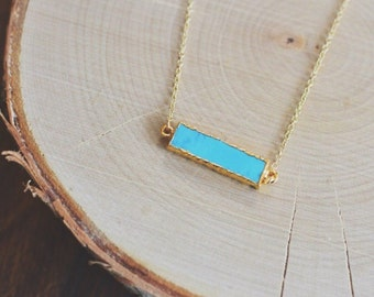 Turquoise Bar Necklace // Gold // Bar Necklace