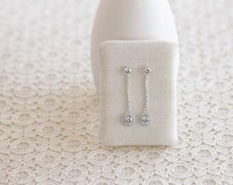 Wedding Earrings, Circle Halo, Long Earrings, Bridal Jewelry - Wedding Jewelry - CZ Earrings - Bridal Jewelry Set - Maid of Honor Gift