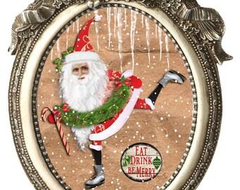 Christmas Card   Santa Card   Merry Christmas   Dancing Santa   Vintage Style   Blank Card