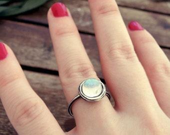 Rainbow Moonstone ring, stone ring, oxidized silver ring, crystal ring, blackened silver ring, black ring, dainty ring, organic ring, energy