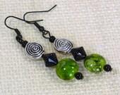 Lime Deco Dangle Earrings - Green & Black Op-Art Earrings, Nickle-Free Flat Black Ear Wires, Handmade in the USA, Ready to Ship