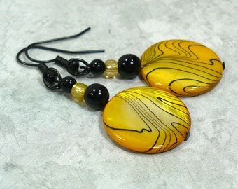 Yellow Shell Dangle Earrings - Round Disc Drop Earrings, Glass Beaded Earrings, Nickle-Free Earwires, Handmade in the USA, Ready to Ship