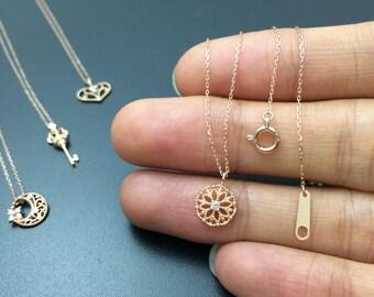 Gold circle necklace Diamond circle pendant Dainty necklace