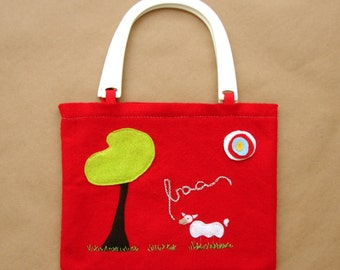 Children's Red Hand Embroidered and Felt Animal Tote Bag - Sheep