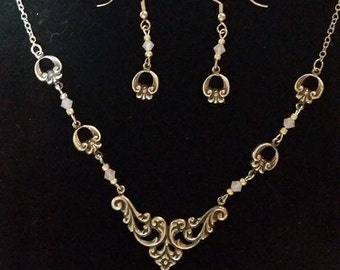 Silver Necklace and Earrings Set Pink Crystal Pastel Filigree #307