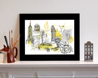 New York Illustration Print // Art Print // New York Print // Personalised // Personalized // Gift for Her // Gift for Him // Couples Gift