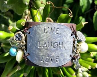 Live Laugh Love Cuff Bracelet, Leather BrAcElEt, LeAtHeR CUFF, Stamped BRacelet, Religious BRACELET