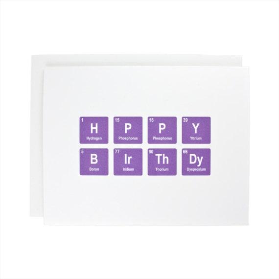 Happy Birthday greeting card, periodic table, chemistry, geeky, birthday, bday, purple