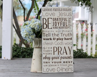 "Custom Christian Family Rules, Personalized family name sign, Anniversary gift, Hand painted wood sign, Measures 10.5""  x 22"""