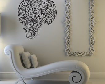 Zentangle sugar skull decal, skeleton wall decal, skull wall decal, zentangle wall decor, day of the dead wall decor, living room decor