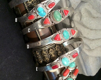 Tibetan Turquoise and Red Coral Sterling Silver Cuff or Clasp Bracelet. Looks Very Southwest. free US ship 54.00 ea