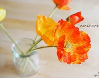3 White/ Yellow/ Orange/ Dark Orange/ Red/ Apple Green Poppy – silk flower – artificial flower – headpiece – decoration – diy (FB0002-01/06)