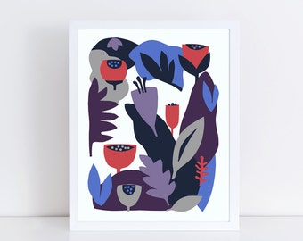 Scandinavian art, mid century modern art, modern wall art, floral print, colorful wall art, red, blue, purple, navy, botanical illustration