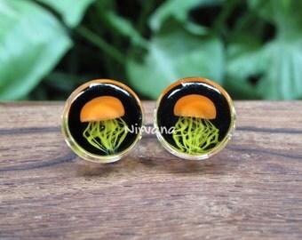 "1 Pair - Pyrex Glass Orange Jellyfish Plugs Black Background Lt. Yellow Legs 0g 00g 7/16"" 1/2"" 9/16"" 5/8"" 3/4"" 1""  8 mm 10 mm 12 mm - 25 mm"