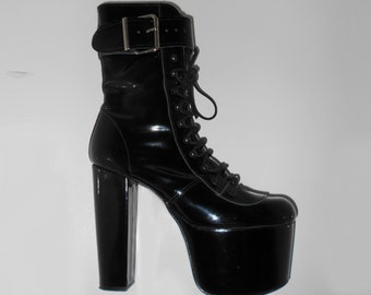 90s Vtg Mega Platform Black Pvc Leather Clubkid Goth Vamp Fetish Eyelet Buckle Boots size Uk 7 / US 9.5 / EU 40