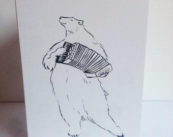 Musical Bear Card Illustration (A6)