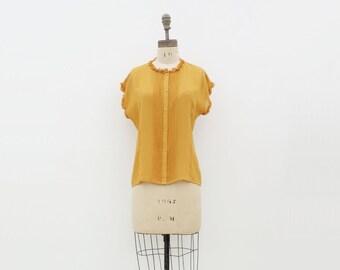 sale 1980s Mustard Blouse, Vintage Mustard Top, Gold Ruffled Blouse, 80s Secretary Blouse, Marigold 80s Blouse, Designer Blouse, s, m