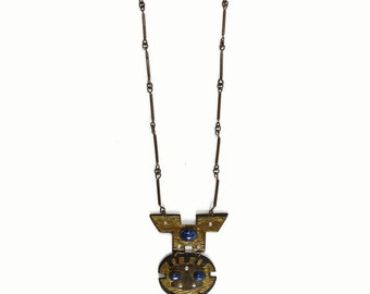 Aztec WARRIOR Pendant Necklace - Brass - TRIBAL - Lapis Lazuli - Big Articulated Statement Necklace - Mexican Totem - Handmade - Vintage 70s
