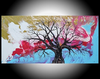 "Huge Tree Painting 24"" x 48"" 'Hidden Treasures' Original Modern Art Landscape Large Magenta Sky Blue Gold Abstract Surreal Amber Lamoreaux"