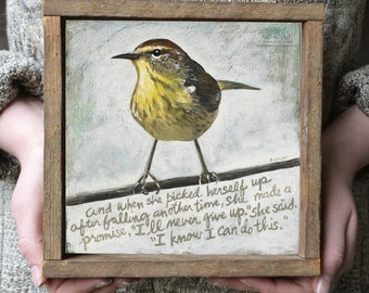 Inspiration Quote, Confidence Quote Wall Art with Bird, Modern Rustic Wall Decor, Encouragement Gift for Her, Wooden Inspiration Wall Quotes