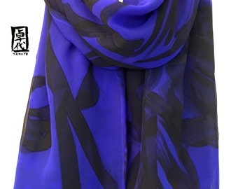 Hand Painted Silk Scarf Blue, Gift for her, Blue and Black Scarf, Royal Blue Orchids Scarf, Double layered Scarf Chiffon, 22x56 inches.