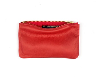MAE Red Leather Wallet. Red Leather Pouch. Red Leather Makeup Bag. Leather Cosmetic Bag. Small Leather Pouch