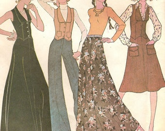 Vintage Skirts Two Lengths with Vest & Pants Juniors Size 9 10 Sewing Pattern 1970s