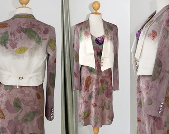 Matching Dress Set Women Tailored Dress Suit Stella McCartney Silk blazer Jacket + Dress spaghetti strap Earthy Color Evening Fall Christmas