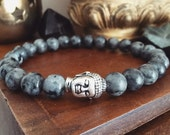 Mens Buddha Bracelet  Mens Bracelet with Larvikite Beads and Silver Buddha Head Norwegian Stone  Mens Mala for Intuition and Protection