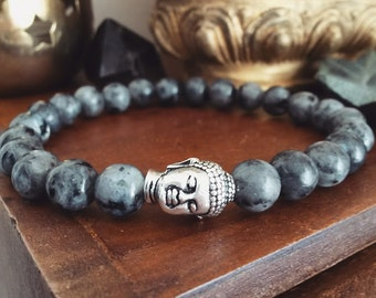 Mens Buddha Bracelet - Mens Bracelet with Larvikite Beads and Silver Buddha, Mens Gift