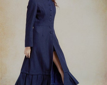 Long Wool Coat Jacket in Blue, Maxi Trenchcoat, Winter Cashmere Coat, Winter Wool Coat, Wool Jacket